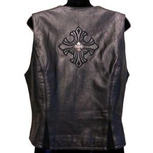 Harley Davidson Black Leather Vest w Etched Flames